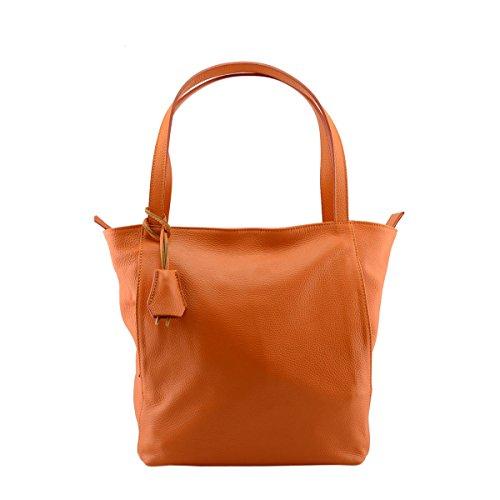 Sac Shopper En Cuir Véritable Couleur Orange - Maroquinerie Fait En Italie - Sac Femme