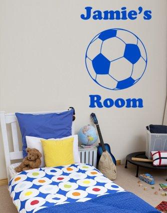 Salle de garçons de football personnalisé Nom de porte ou mur Autocollant pour enfant – Transfert de sport en vinyle, chambre à coucher, facile à appliquer, sans Applicateur, faciles à décoller, veuillez nous envoyer un message avec votre nom – (veuillez choisir votre taille et couleur à l'aide de la Sélection Boîtes) – par Rubybloom Designs, rose, Medium 64cm x 90cm
