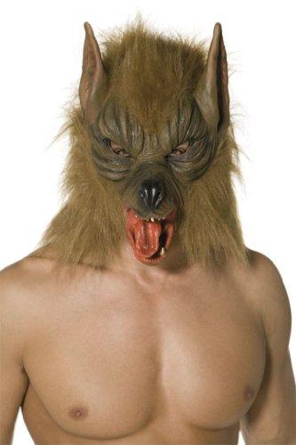 Smiffys Herren Wolf Maske, One Size, Braun, 33785