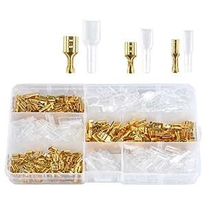 ATPWONZ 150 stück Flachsteckhülsen Flachstecker Spade Kabelschuhe Sleeve Terminal weiblich Flachsteckern Kabel Stecker mit Isolierhülse Sortiment Kit (2,8 mm 4,8 mm 6,3 mm)