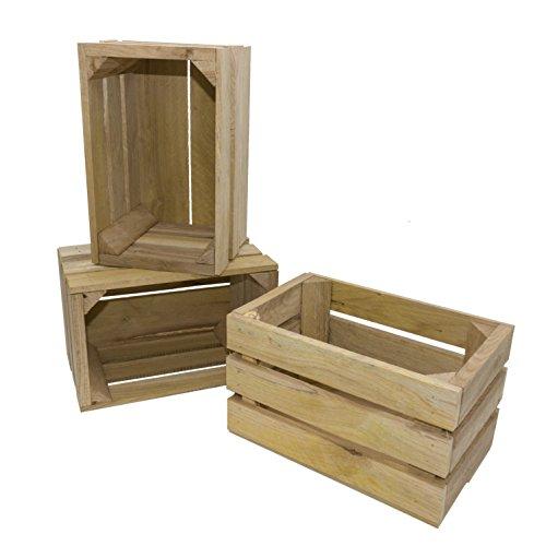 Amazon.de Pflanzenservice 3er Set Vintage-Kiste aus Eichenholz, 28 x 18 x 16,5 cm