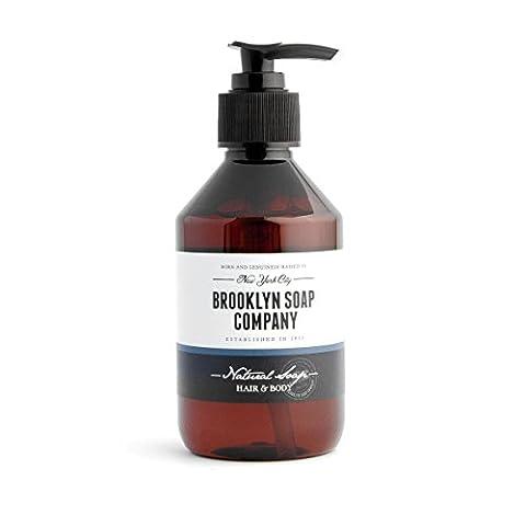 Shampooing et gel douche végétalien 2 en 1 avec Aloe Vera ✔ Natural Soap Hair & Body (250 ml) cosmétiques naturels de la BROOKLYN SOAP COMPANY ® ✔ idée cadeau pour les hommes