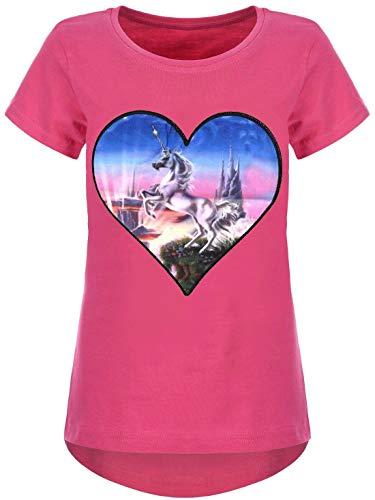 Kmisso Mädchen T-Shirt Kinder Bluse Kurzarm T-Shirts LED Licht Effekt 30037 Pink 158