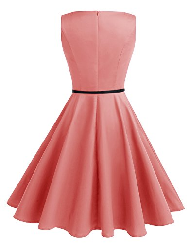 ALAGIRLS 1950er Vintage Rockabilly Einfarbig Party Kleid Retro Muster Cocktailkleid Coral