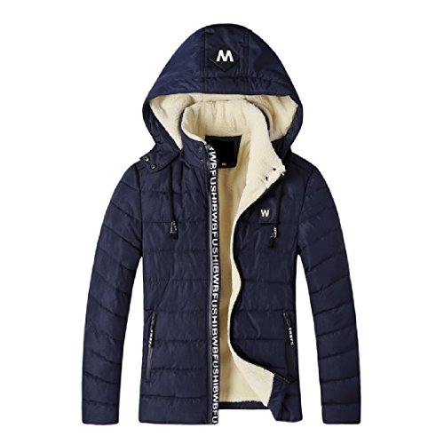 CuteRose Mens Simple Comfy Hood Warm Full-zip Outwear Coats Anorak Jacket Navy Blue 2XL