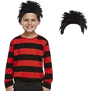Kids Black /& Red Striped Top Dennis Book Week Fancy Dress Costume 4-6 Yrs