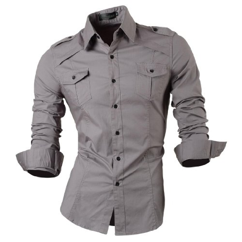 jeansian Homme Chemises Casual Shirt Tops Mode Men Slim Fit 8001 gray