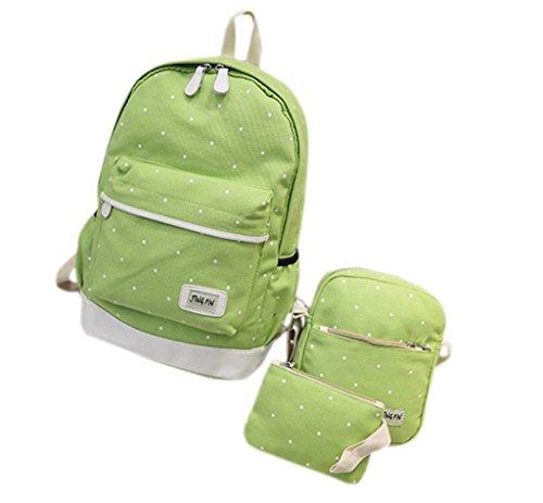 Remeehi moda DOT modello ragazzine canvas zaino scuola borsa zaino per portatile 37,1cm + messenger bag + Purse, black (Grigio) - JXQ0691-7 green