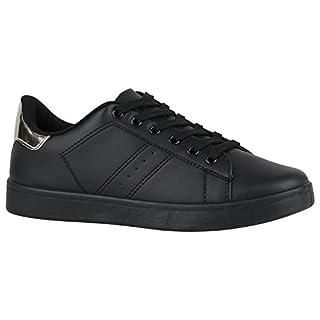 Sportliche Damen Sneakers Sneaker Low Lack Retro Flats Schnürer Animalprints leder-Optik Schuhe 142393 Schwarz Gold Bexhill 38 | Flandell®
