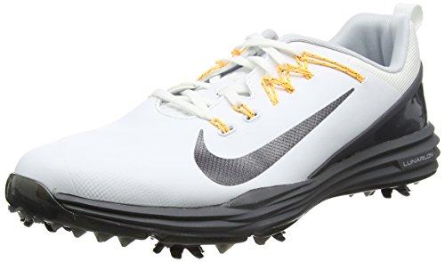 Nike Lunar Command 2, Chaussures de Golf Homme, Blanc (White/Metallic Dark Grey/Dark Grey/Laser Orange), 43 EU