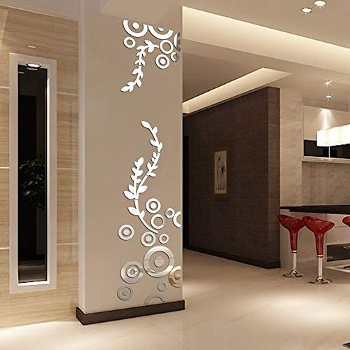 QLOSCFHB Kreative Kreis Ring acryl kristall Spiegel wandaufkleber DIY 3D Aufkleber Wand wohnkultur Schlafzimmer Wohnzimmer tapete Dekoration, Silber