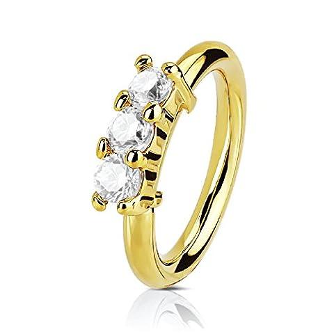 BodyJ4You Nose Ring Ear Hoop Tragus Helix Earring Stainless Steel Goldtone 20G Body Piercing Crystal