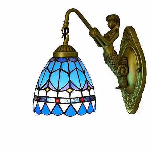 GHPN Wandleuchte Bowl Shade Style Tiffany Lamp Wandleuchte Industrial Retro Vintage-Blue-3 -