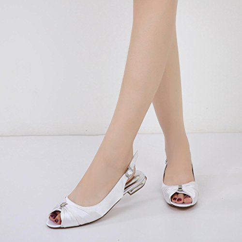 L@YC F-5049-26 Scarpe da sposa da donna Raso Peep Toe Low Heel Prom Party Dance Wommen pumps Purple