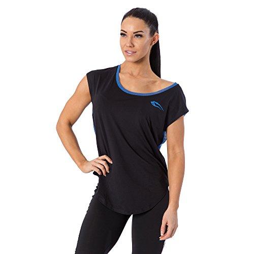 SMILODOX Sport Tank Top Damen | Trainingsshirt ideal für Gym Fitness & Workout | Ärmelloses Sport T-Shirt - Bequemer Schnitt - Sporttop- Unterhemd - Trägershirt , Farbe:Schwarz/Blau, Größe:S (Workout-muskel-t-shirt)