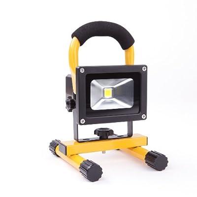 AKKU Baustrahler, Strahler, Lampe, Halogenlampe, Flutlicht, Fluter 10 W - LED - superhell, hohe Lichtausbeute - min. 3 Stunden Dauerlicht - kabellos - als Ersatz für mind. 80 W Halogenstrahler - Typ: AKKU FL 30510 von MAGNOM bei Lampenhans.de