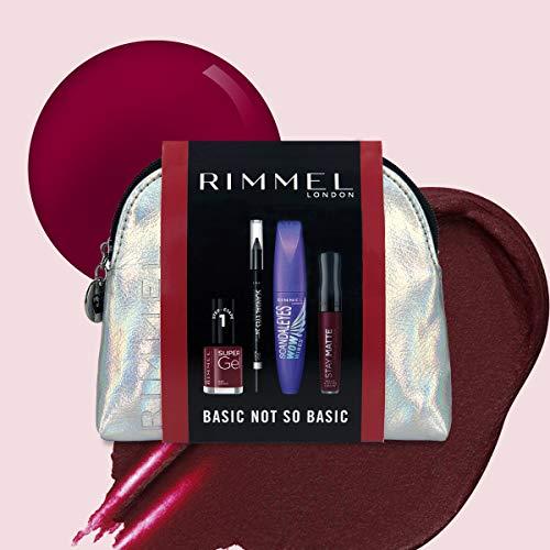 Rimmel London Basic Not So Basic Set de Maquillaje (incluye Máscara Scandaleyes Wow,   Scandaleyes Khol Liner negro,  Labial Stay Matte 810,  esmalte de uñas Super Gel Kate 043)