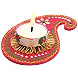 Oussum Red Paisley Wooden Decorative Wax Tea Light Candle Diya For Diwali Pooja Festivals
