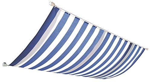 Windhager Sonnensegel für Seilspanntechnik Sonnenschutz Segel 270 x 140 cm, ideal für Pergola oder Wintergarten, BLAU/WEISS