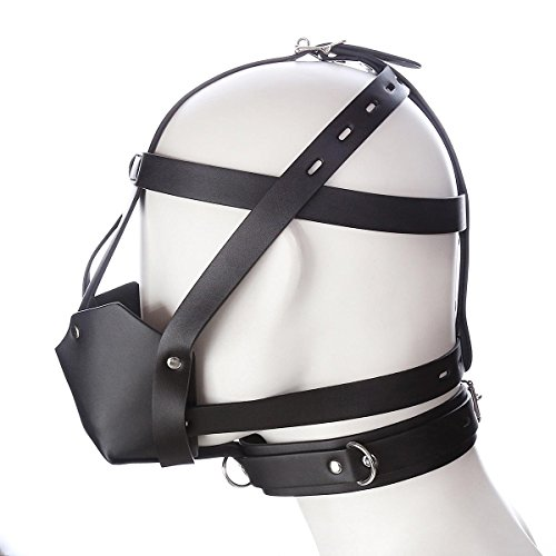 LLY LOVOE Leder Horse Typ Ball Mouth Plug Perücke Schwarz PU Full Bag Maske Eye Band Blei Hülse Verstellbare Bondage Kostüme Paare Stimulation leistungsstarke