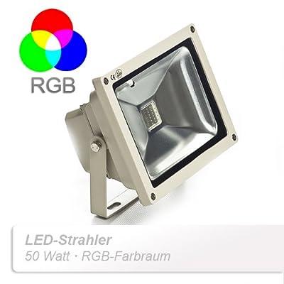 Sagenta 50W LED RGB multicolor Scheinwerfer Fluter Strahler Außenstrahler Flutlicht Licht wasserdicht über 50,000 Stunden Lebensdauer von Sagenta auf Lampenhans.de