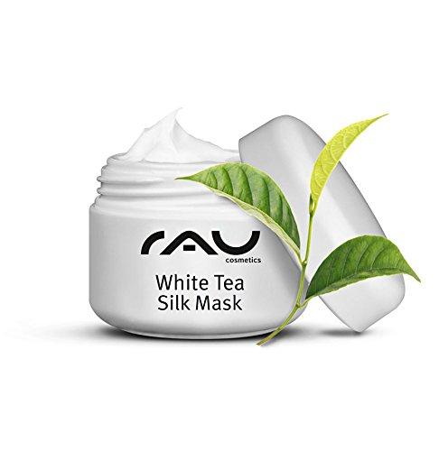 RAU White Tea Silk Mask 5 ml - Beste Anti-Falten Gesichtsmaske - mit Seidenproteinen, Weißem Tee, Panthenol & Sheabutter - Anti-Aging Feuchtigkeit Reinigung - Maske gegen Falten, Mitesser, Pickel - Für reife, unreine, trockene Haut, Damen und Herren - Naturkosmetik - Mini Travel Size