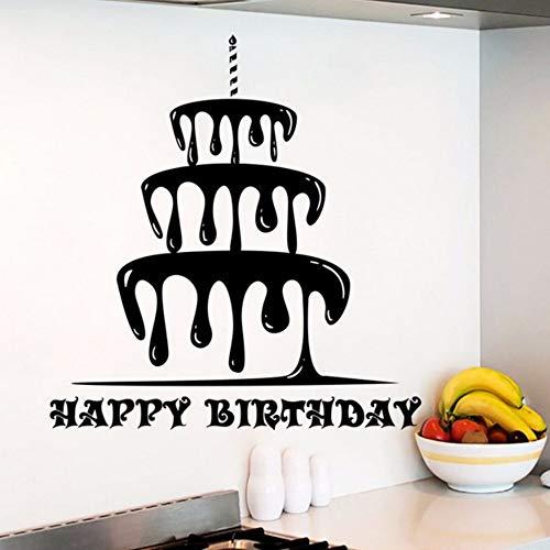 Pbldb 57X61 Cm Happy Birthday Wandtattoo Abnehmbare Kuchen Aufkleber Urlaub Dekor Geburtstag Kuchen Shop Wandkunst Wand Küche Design Kunst Aufkleber