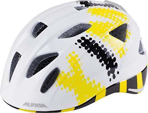ALPINA Kinder Ximo Flash Fahrradhelm, White-Black-Yellow, 47-51 cm