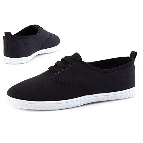 Trendige Low Top Damen Schnür Sneaker Schuhe in Textil Modell 3: Schwarz