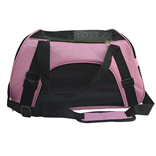 Faltbar Transporttasche für Hunde Katze – LOSORN ZPY Hundetasche Haustier Reise Tragetasche Transportbox (M: 47x30x24cm, Rosa)