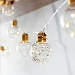Lights4fun 10er Party Lichterkette mit LED Micro Draht Lichterkette warmweiß Batterie Timer