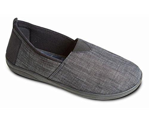 Padders Hommes Chausson en textile Blake | Avec semelles à mémoire de forme | Grande Taille G | Talon 20mm | Avec Chausse-Pied Gratuit Noir / Combi