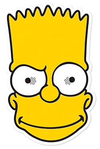 Simpsons Bart - Maske Papp Maske, aus hochwertigem Glanzkarton mit Augenlöchern, Gummiband - Grösse ca. 30x20 cm