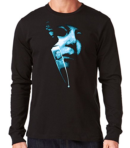 35mm - Camiseta Hombre Manga Larga - Michael Myers - Halloween - Long Sleeve Man Shirt, NEGRA, XL