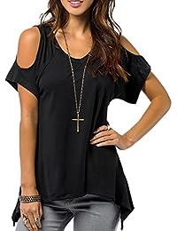 Ineternet Été Sexy Femmes Casual v-cou Hors épaule T-Shirt Manches Courtes T-Shirt Extensible Solide Tops