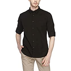 Indian Terrain Mens Solid Slim Fit Casual Shirt (ITMSH00179_Black_S)