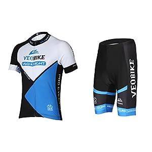Asvert Malliot de Ciclismo Hombre 3D Cojín Manga Corta Jersey + Pantalones Ropa de Bicicleta Verano Conjunto Ciclista Elástica Equipación Bicicleta Transpirable, Azul