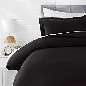 AmazonBasics Microfiber 2-Piece Quilt/Duvet/Comforter Cover Set - Single, Black - with Pillow Cover