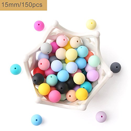 baby tete 15mm(150Pcs) Perles de silicone Round Organic Teethers pour bébé Diy Accessoires Alimentation Grave Sensory Infant DIY Collier Pendentif Baby Grasping Toys