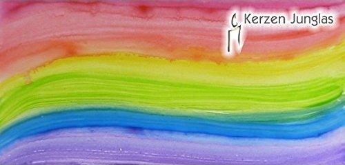 Wachsplatte regenbogenfarben handbemalt 20x10 cm - 9746 -Verzierwachsplatte 200x100 mm für Kerzen