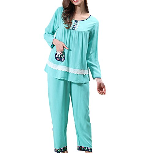 Zhhlaixing Hot Womens Casual Pajama Set Comfy Round Neck Sleepwear 3 Colors M5122 Lake Green