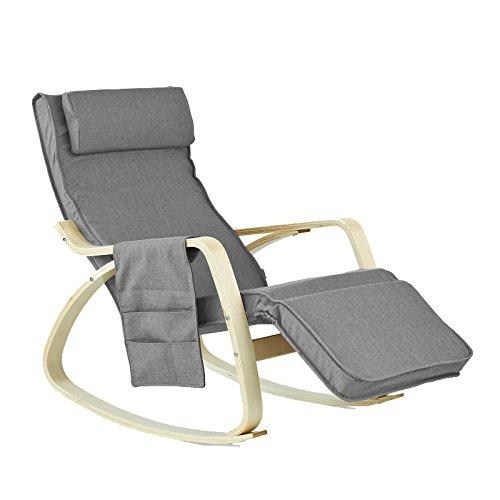 SoBuy Schaukelstuhl mit Tasche (verstellbares Fußteil),Relaxstuhl,Relaxsessel,Belastbarkeit 150kg,...