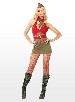 exy Drill Master Kostüm - rot/grün (Medium) (Pin Up Army Kostüme)