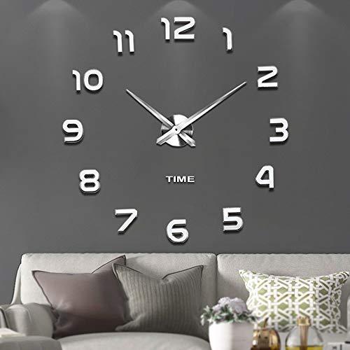 VANGOLD Mute DIY Reloj de Pared sin Marco Espejo Grande 3D Sticker-2 años de garantía Plata