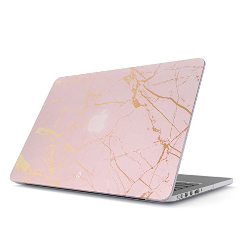 BURGA Hülle Kompatibel Für MacBook Air 13 Zoll Modell: A1466 / A1369 Pink Rosa Gold Marmor Marble Hard Plastik Case
