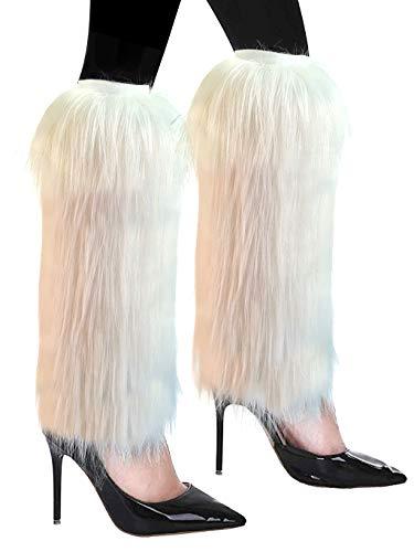 FHQHTH pelliccia sintetica lanuginoso Scaldamuscoli in peluche La copertura del polsino con stivali lunghi con tacchi di pelliccia ha un paio di elasticità [bianco, LarGrandege]