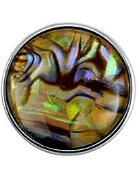 Quiges Eligo Bijoux coloré Perle plaqué argent de 18mm bouton-pression pour Eligo 18mm Bracelets Button