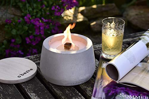 Beske-Betonfeuer mit \'Dauerdocht\' | Durchmesser 14cm mit Bauch | Wiederbefüllbare Gartenfackel | \'Unendliche\' Brenndauer durch umweltfreundliches Recycling von Kerzenwachs