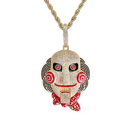 FIZZENN Hip Hop Saw Mask Puppe Anhänger Unisex Iced Out Kristall Halskette mit 60Cm Edelstahl Kette Halskette Set,Gold (Saw Puppe Kostüme)
