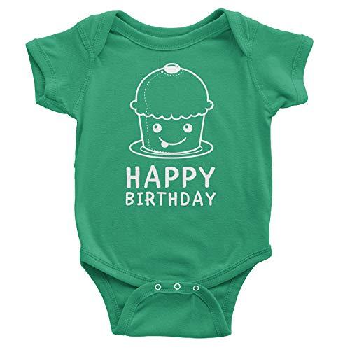CVLR Happy Birthday, Cupcake - Baby Body Kurzarm für Jungen Mädchen - Zum Geburtstag (3-6 Monate) (Birthday Suit Happy)